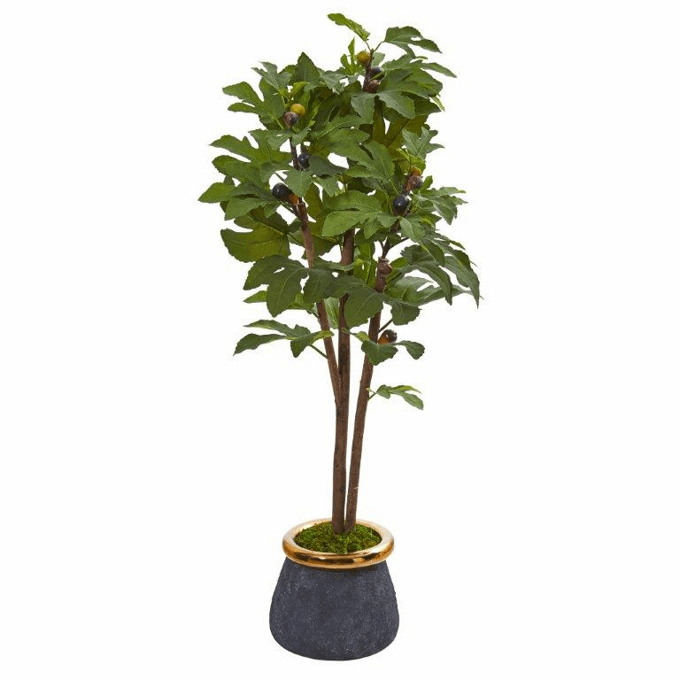 46� Fig Artificial Tree in Planter with Brass Trimming -