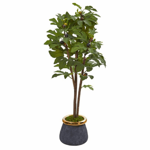 """46"""" Fig Artificial Tree in Planter with Brass Trimming -"""