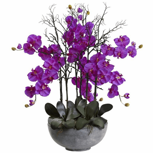"46"" Giant Phalaenopsis Orchid Artificial Arrangement in Cement bowl - Orchid"