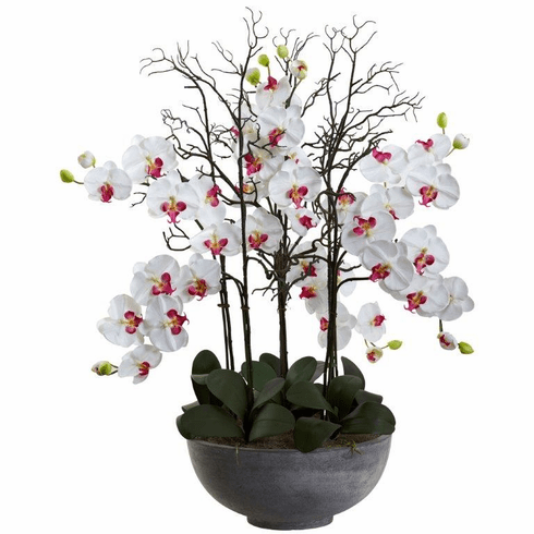 """46"""" Giant Phalaenopsis Orchid Artificial Arrangement in Cement bowl - White"""