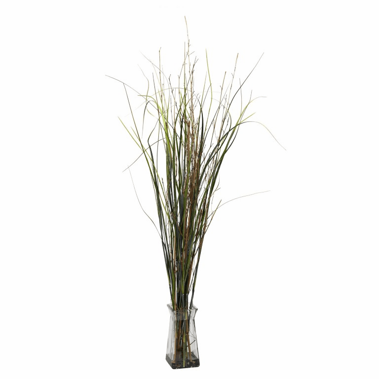 """46"""" Grass & Bamboo with Glass Vase Artificial Plant"""