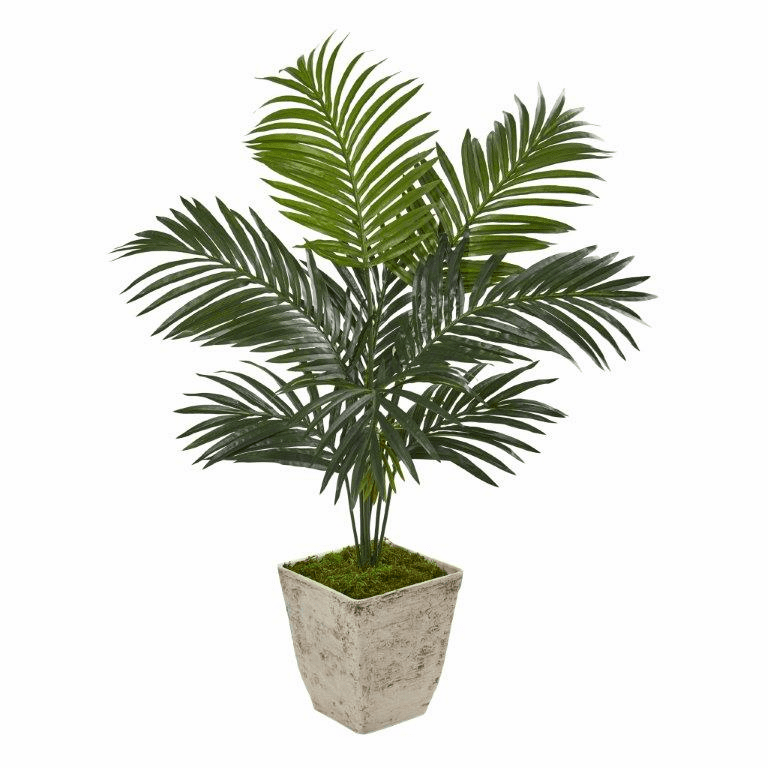 46� Kentia Artificial Palm Tree in Country White Planter -