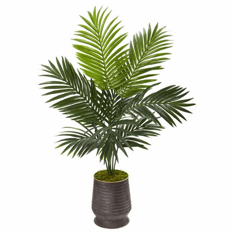 46� Kentia Artificial Palm Tree in Ribbed Metal Planter -