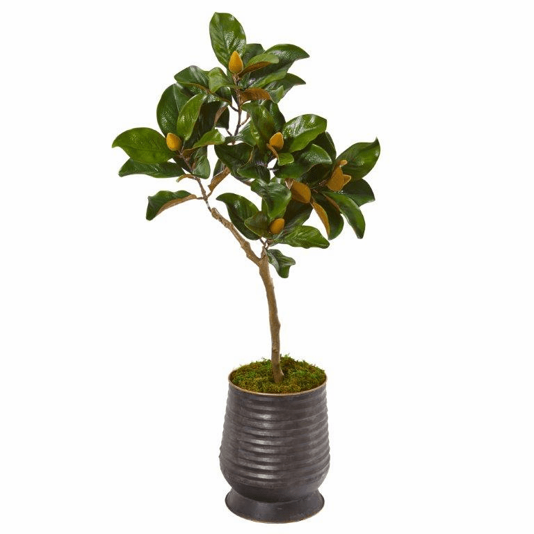 46� Magnolia Leaf Artificial Tree in Ribbed Metal Planter -