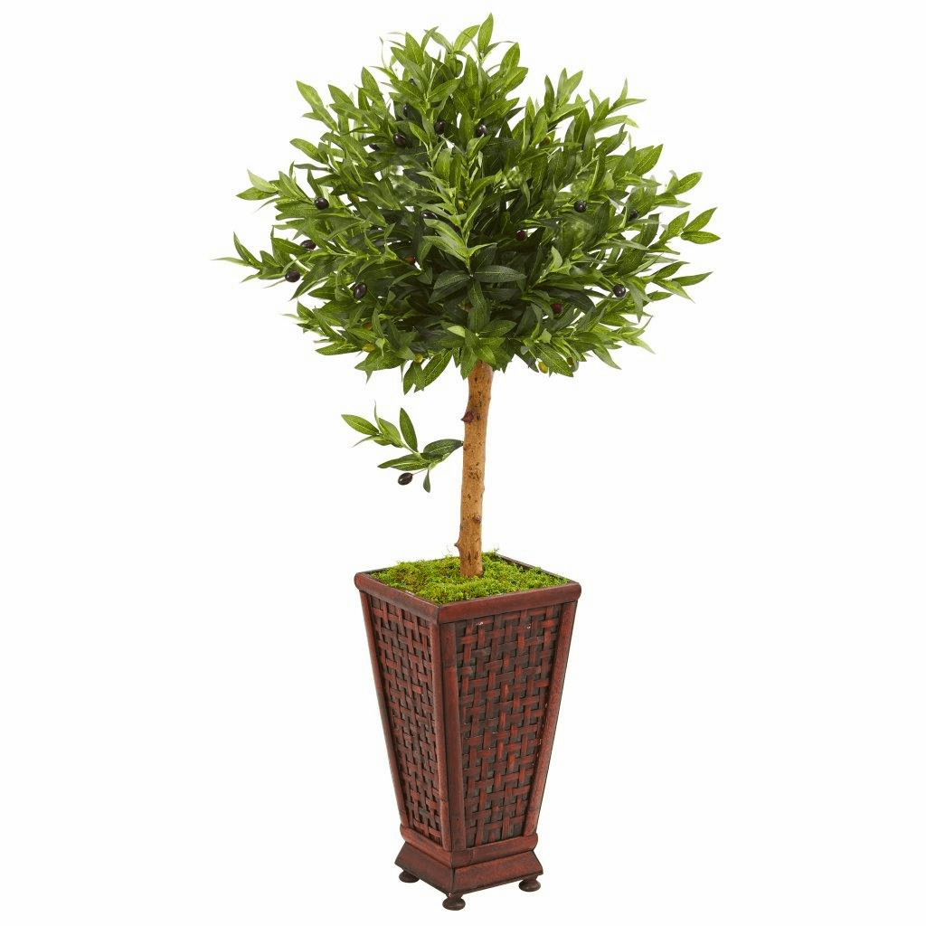 46� Olive Topiary Artificial Tree in Decorative Planter