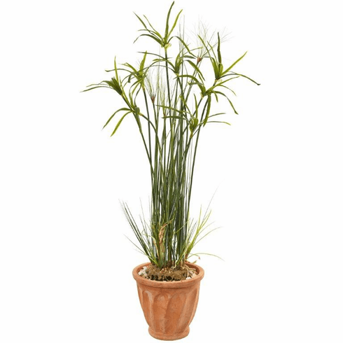 "46"" Papyrus Artificial Plant in Terracotta Planter -"