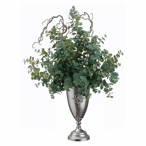 "47"" Artificial Eucalyptus Stems in Tin Urn Arrangement"