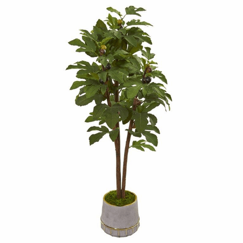 "47"" Fig Artificial Tree in Stoneware Vase with Gold Trimming -"
