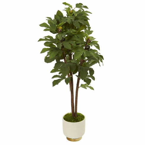 """47"""" Fig Artificial Tree in White Bowl -"""
