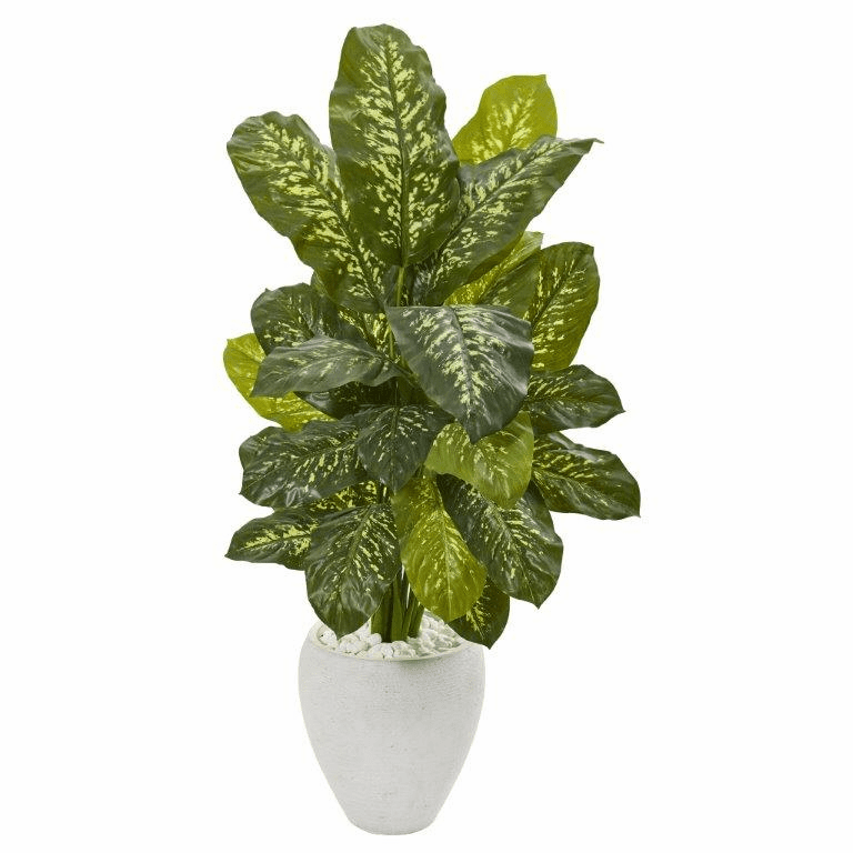 48� Dieffenbachia Artificial Plant in White Planter (Real Touch)