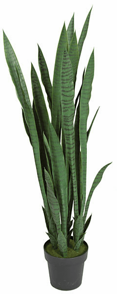 48 Inch Artificial Green Sansevieria Plant in Plastic Pot