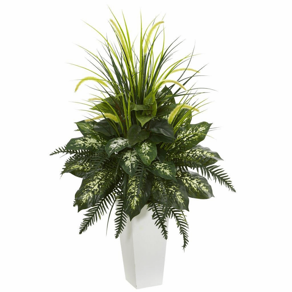 """48"""" Mixed River Fern and Dogtail Artificial Plant in White Tower Planter"""
