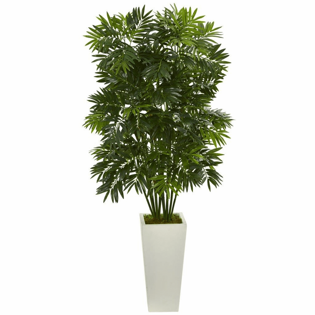 49� Mini Bamboo Palm Artificial Pant in White Tower Planter