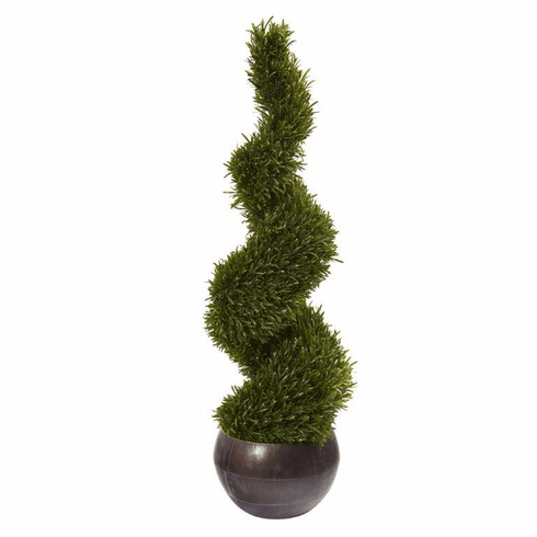 "49"" Rosemary Spiral Topiary Artificial Tree in Bowl (Indoor/Outdoor) -"
