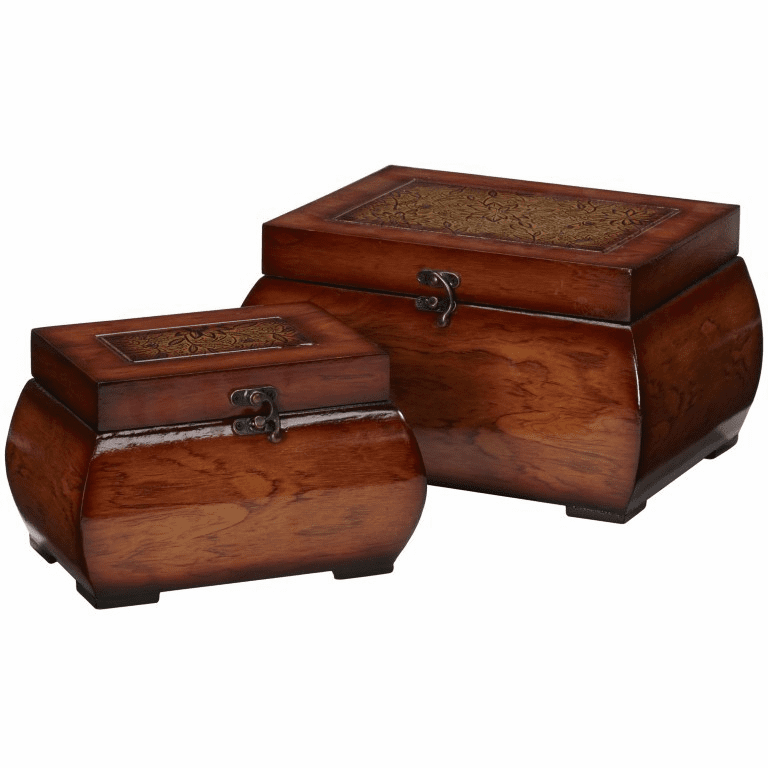 "5.25""-6.5"" Decorative Lacquered Wood Chests-Set 2"