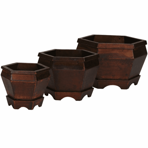 "5.5""-7"" Wooden Hexagon Decorative Planter - Set 3"