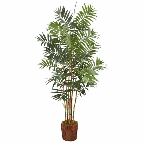 5.5' Bamboo Artificial Palm Tree in Decorative Wood Planter -