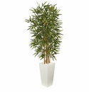 5.5� Bamboo Artificial Tree in White Tower Planter