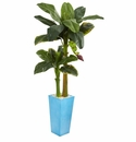 5.5� Banana Artificial Tree in Turquoise Tower Vase -