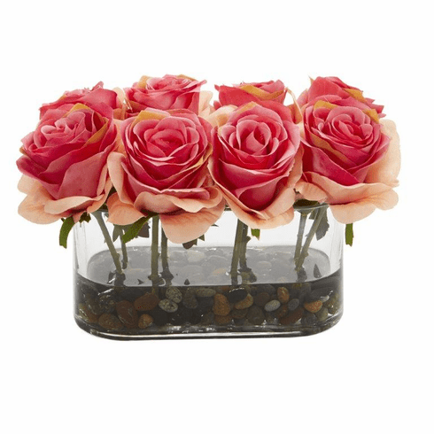"5.5"" Blooming Roses in Glass Vase Artificial Arrangement - Dark Pink"