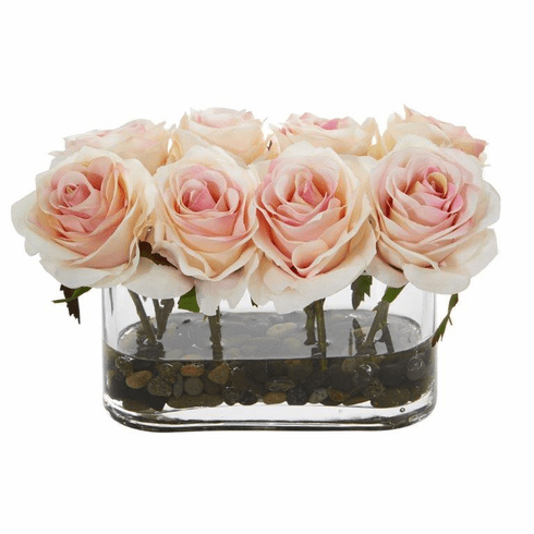 "5.5"" Blooming Roses in Glass Vase Artificial Arrangement - Light Pink"