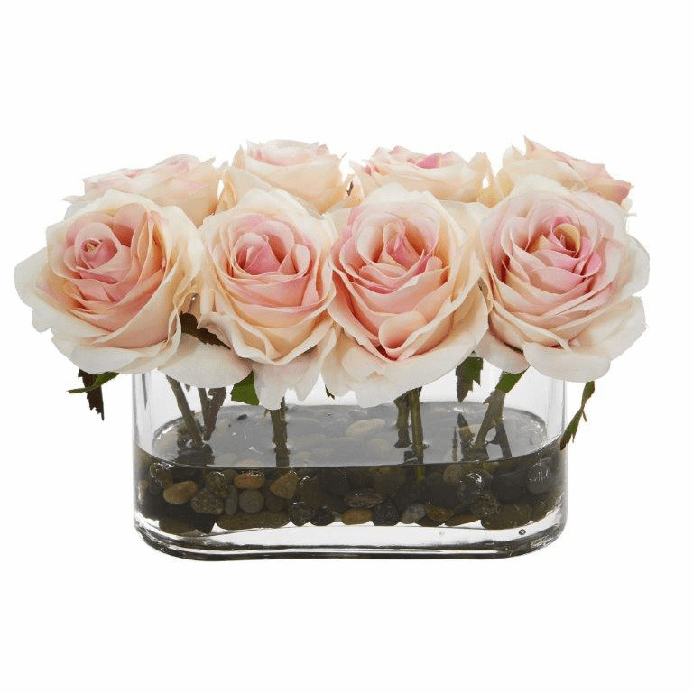 5.5� Blooming Roses in Glass Vase Artificial Arrangement - Light Pink