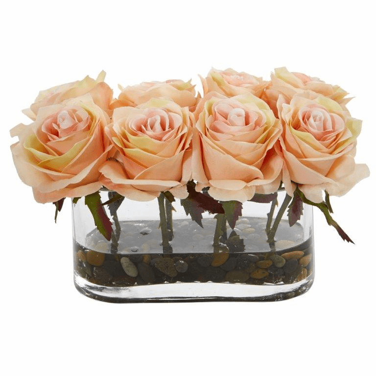 5.5� Blooming Roses in Glass Vase Artificial Arrangement - Peach