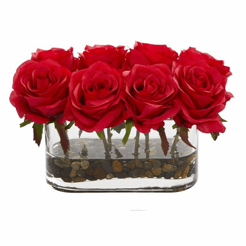 "5.5"" Blooming Roses in Glass Vase Artificial Arrangement - Red"