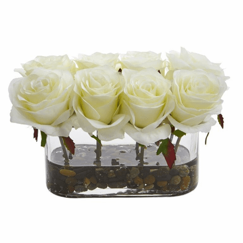 "5.5"" Blooming Roses in Glass Vase Artificial Arrangement - White"