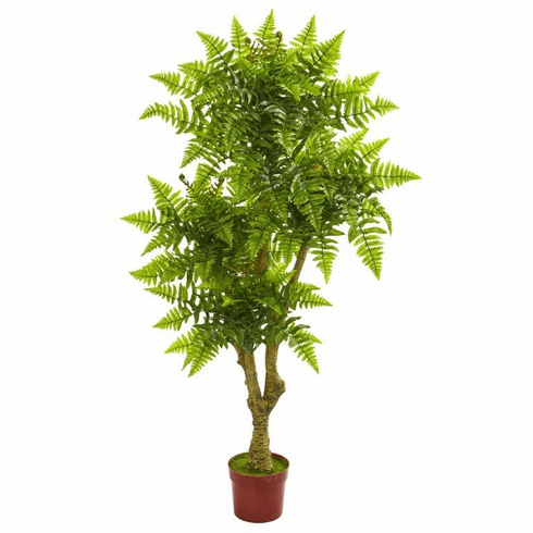 5.5' Boston Fern Artificial Tree UV Resistant (Indoor/Outdoor)