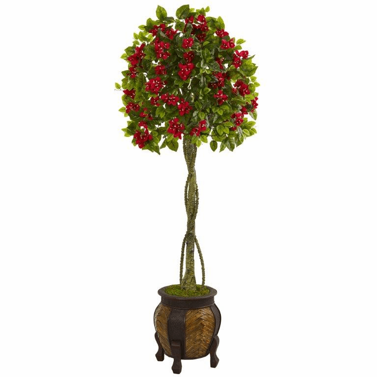 5.5� Bougainvillea Topiary Artificial Tree in Decorative Planter