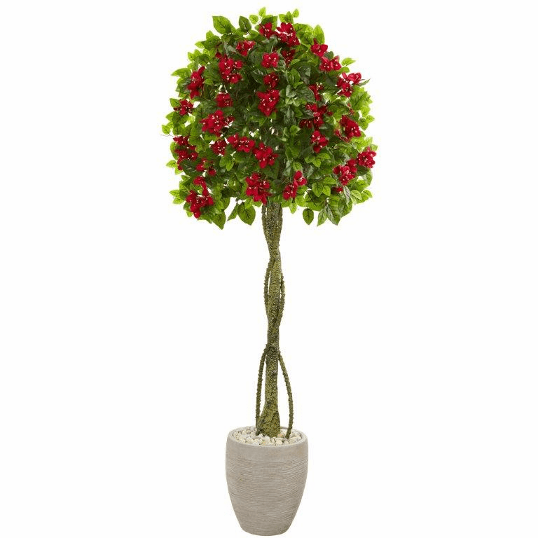 5.5� Bougainvillea Topiary Artificial Tree in Sand Colored Planter