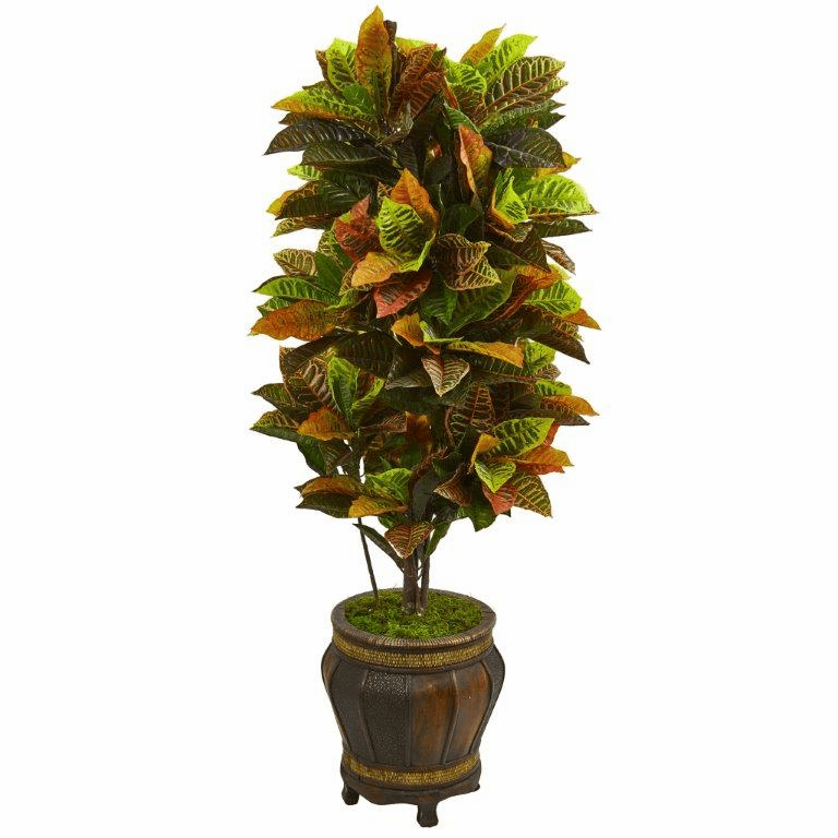5.5� Croton Artificial Plant in Decorative Planter (Real Touch)
