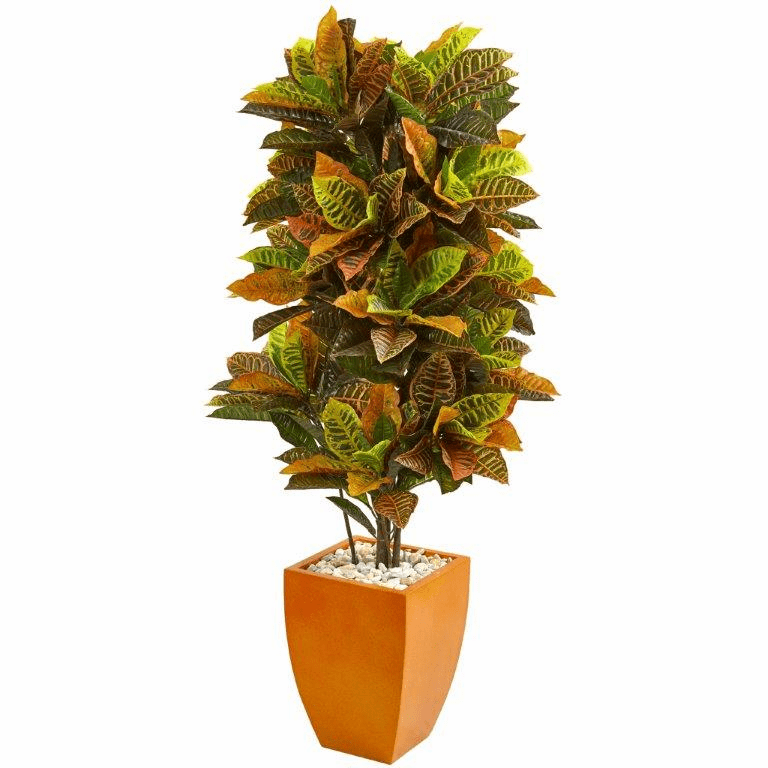 5.5� Croton Artificial Plant in Orange Planter (Real Touch)