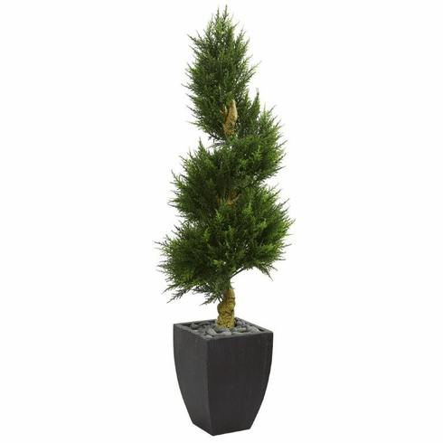 5.5' Cypress Spiral Artificial Tree in Black Wash Planter UV Resistant (Indoor/Outdoor)