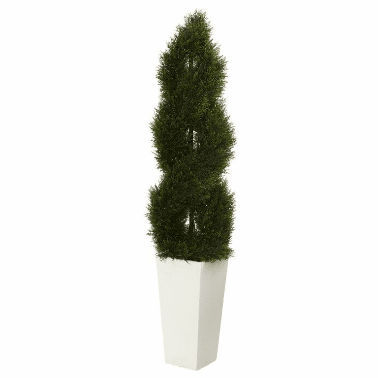5.5� Double Pond Cypress Spiral Topiary Artificial Tree in White Tower Planter UV Resistant (Indoor/Outdoor)