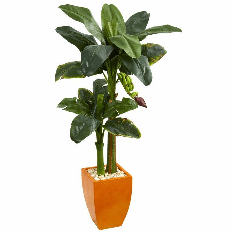 5.5� Double Stalk Banana Artificial Tree in Orange Planter