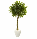 5.5� Ficus Artificial Tree in White Oval Planter UV Resistant (Indoor/Outdoor)