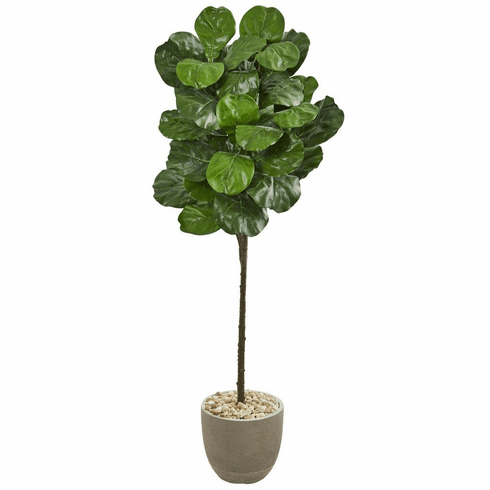 5.5' Fiddle Leaf Artificial Tree in Sand Stone Finish Planter