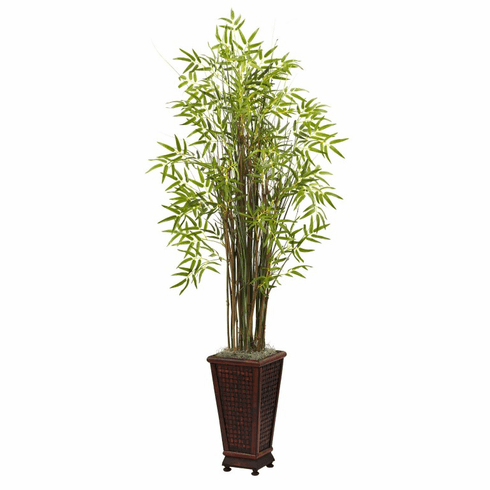 5.5' Grass Bamboo Plant with Decorative Planter