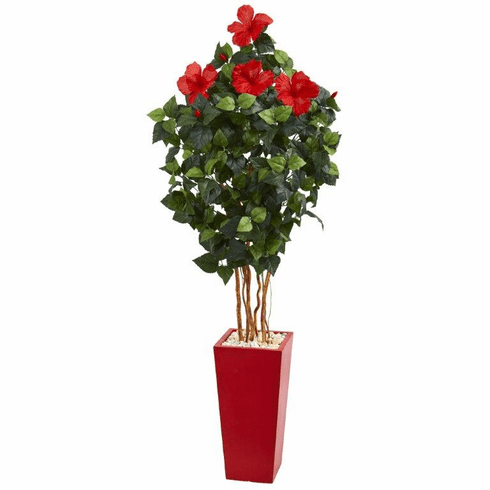 5.5' Hibiscus Artificial Tree in Red Tower Planter with Silk Flowers