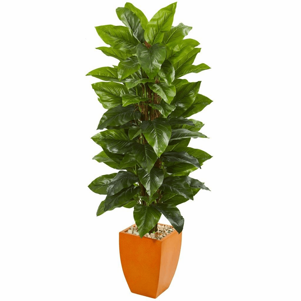 5.5� Large Leaf Philodendron Artificial Plant in Orange Planter (Real Touch)