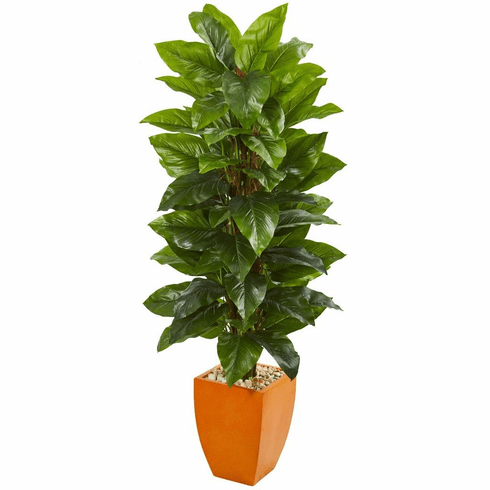 5.5' Large Leaf Philodendron Artificial Plant in Orange Planter (Real Touch)