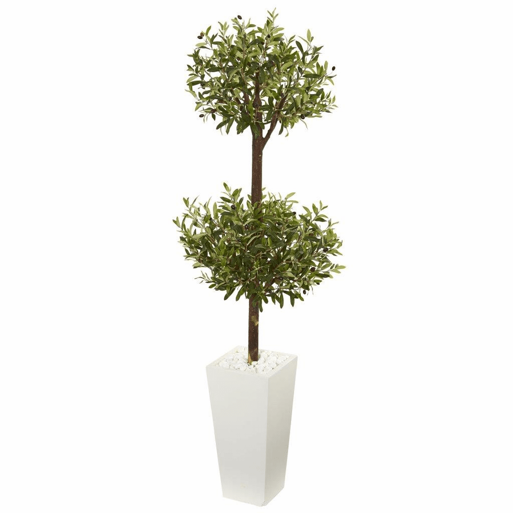 5.5' Olive Artificial Double Topiary Tree in White Tower Planter