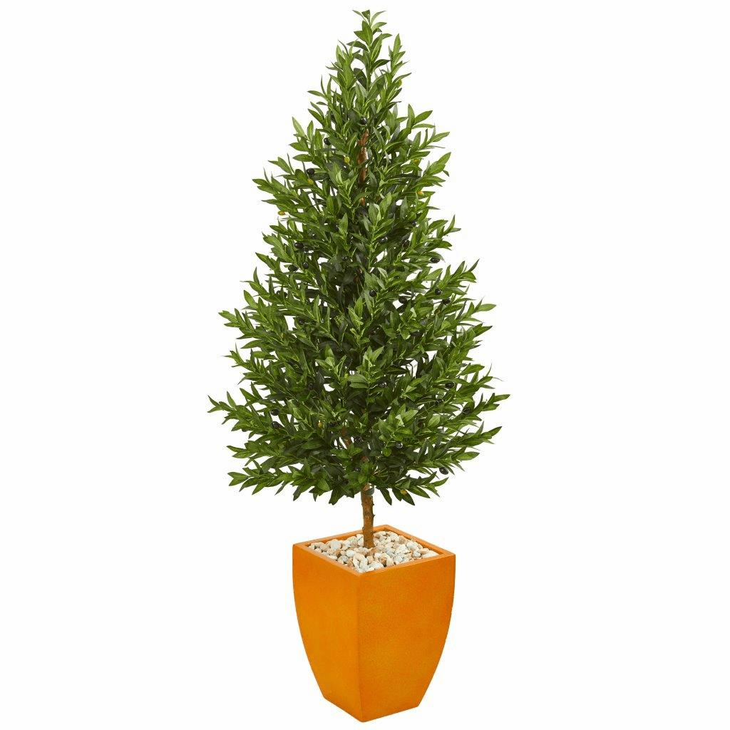 5.5� Olive Cone Topiary Artificial Tree in Orange Planter UV Resistant (Indoor/Outdoor)
