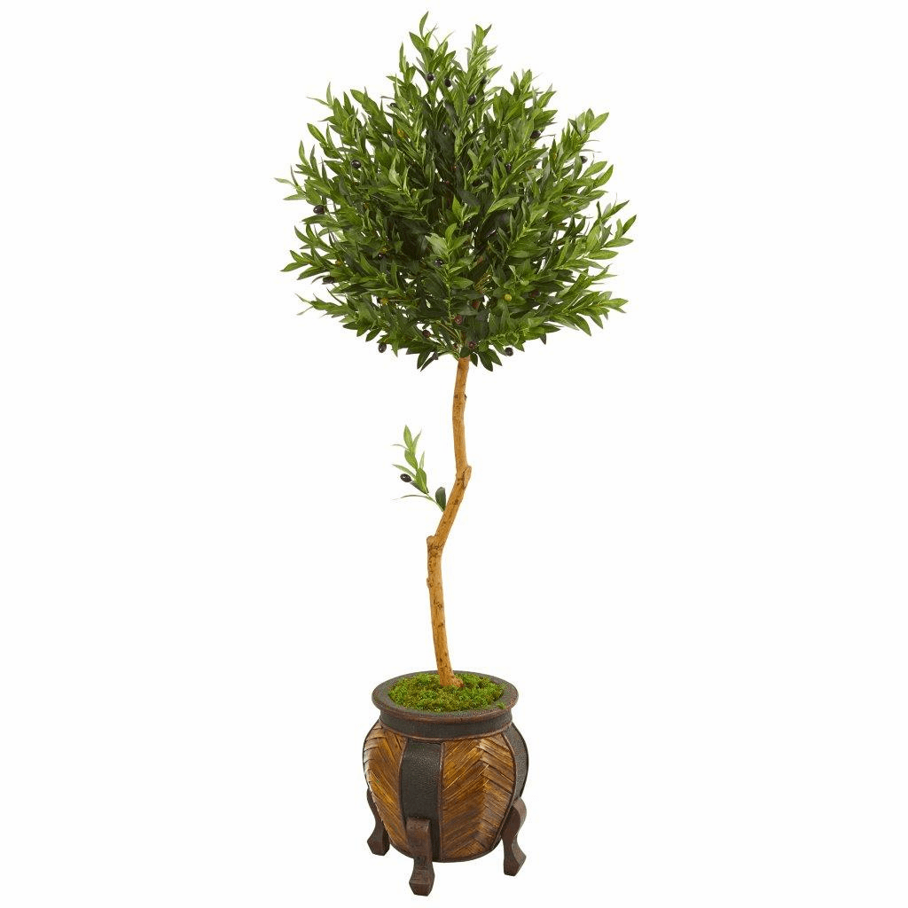 5.5� Olive Topiary Artificial Tree in Decorative Planter