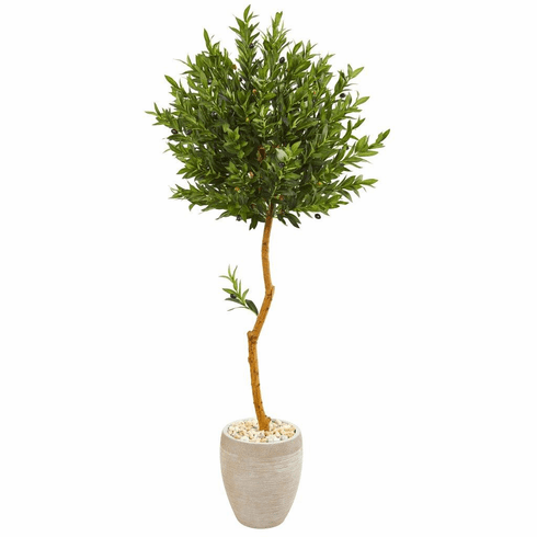 5.5' Olive Topiary Artificial Tree in Sand Colored Planter UV Resistant (Indoor/Outdoor)