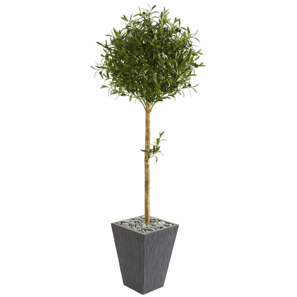 5.5� Olive Topiary Artificial Tree in Slate Planter