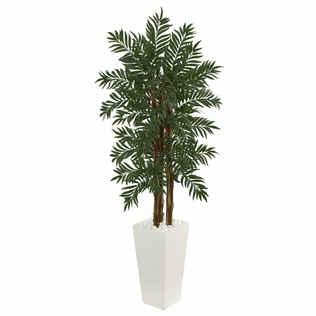 5.5� Parlor Palm Artificial Tree in White Tower Planter