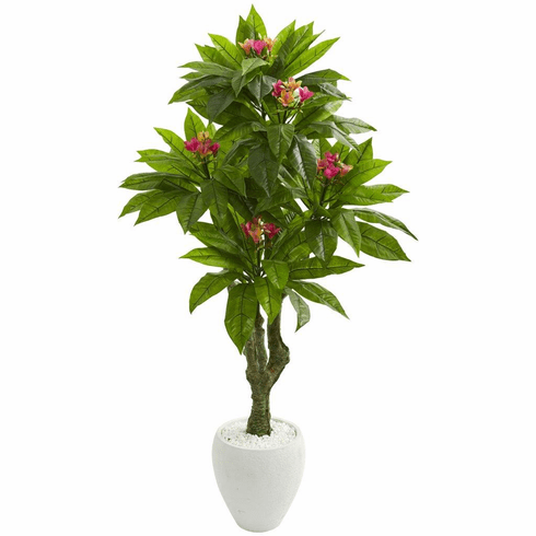 5.5' Plumeria Artificial Tree in White Planter UV Resistant (Indoor/Outdoor)